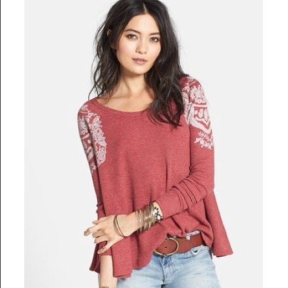 d2d7d010c9fe9 Free People Tops - Free People red Rockabilly waffle thermal top XS